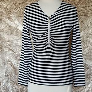 Michael kors striped black and white blouse